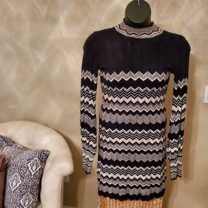 Chevron Pattern Sweater Dress
